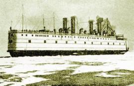 Ледокол «Байкал»в доке и во море