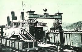 Погрузка вагонов в трюм ледокола «Байкал»
