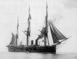 Фрегат «Князь Пожарский», на котором служил Ф. К. Дриженко на одном из этапов Кругосветного плавания