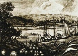 Вид в Иркутске через Ангару на запад с пристанью, гравюра. 1817г.