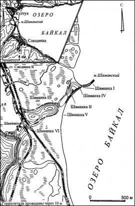 Карта расположения археологических объектов Шаманского мыса.