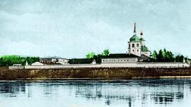 Монастырь Знамения Пресвятой Богородицы. Оцветненная копия открытки XIX в.