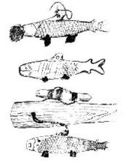 Рис. 1.5. Фигурки рыбок-приманок, найденных в Прибайкалье. Каменный век. (По П. П. Хороших, 1966).