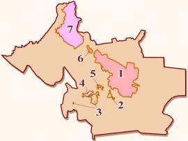 Границы и состав «Большого Иркутска»: 1 — Иркутск, 2 — Марково, 3 — Шелехов, 4 — Баклаши, 5 — Смоленщина, 6 — Мегет, 7 — Ангарск