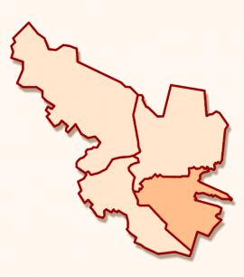 Октябрьский округ Иркутска на схеме города