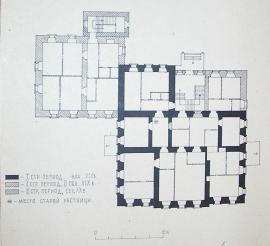 План 1-го этажа дома в разные строительные периоды. Из архива ОКНИО.