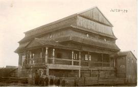 Деревянная синагога в Юрбурге. Построена в 1790 году, разрушена в 1941. Фото Балиса  Буракаса. 1922 год. С сайта http://www.jewishgen.org