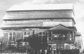 Деревянная синагога в Юрбурге. Построена в 1790 году, разрушена в 1941. Фото Балиса  Буракаса. Почтовая открытка, 1926 год. С сайта http://www.jewishgen.org