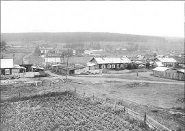 Вид с горы, гда находилась пересыльная тюрьма, на село. Фото И. Бержинского. 1993 г.