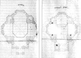 Планы хоров и нижнего этажа церкви Во Имя Св. Благоверного Князя Александра Невского. ГАИО