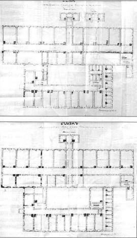 Планы верхнего и нижнего этажей Александровского изолятора специального назначения. 1926 г. ГАИО