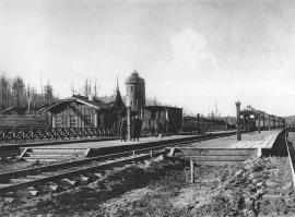Транссибирская магистраль, 2458 верста. Общий вид станции Байроновка (ныне Тайшетский район). Строительный период 1910 года