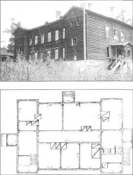 Административный корпус пересыльной тюрьмы. Фото 1980-х гг. План 1-го этажа административного корпуса. 1926 г. ГАИО