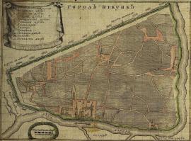 Иркутский палисад на плане города 1729 г., составленном М. Зиновьевым