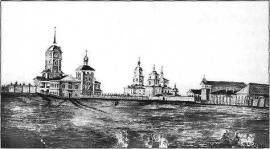 Северная часть Тихвинской площади. Акварель П.И. Пежемского. Кон. 1840-х гг.