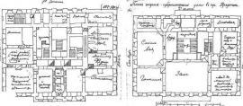 План 1-го и 2-го этажей дома. Чертеж кон. 1880-х гг. Помещения подписаны рукой иркутского генерал-губернатора А.П. Игнатьева
