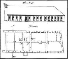 Чертеж каменного одноэтажного дома, занятого окружным штабом. 1876 г.