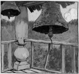 Древняя звонница. Художник Б.В. Смирнов. Из коллекции Новосибирского государственного краеведческого музея.