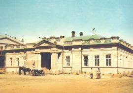 Старое здание библиотеки на углу Тихвинской и Трапезниковской. Раскрашенная копия с оригинала, сделанного до 1917