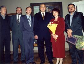 С.И. Медведев, В.П. Шахеров, А.Н. Гаращенко, губернатор Б.А. Говорин, Л.В. Гаращенко, Е.Б. Шободоев