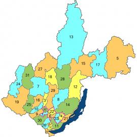 Номера на карте соответствуют номерам районов в таблице 1