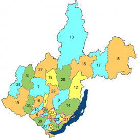Качугский район на карте Иркутской области (обозначен номером 14)