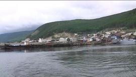 Вид на Нижнеангарск со стороны Байкала
