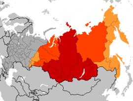 Карта субъектов Российской Федерации, относящихся к Сибири