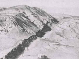 Гобийский Алтай. В результате землетрясения 1957 г. произошел сброс одного блока земной коры относительно другого. Образовался длинный уступ высотой 5-8 м.
