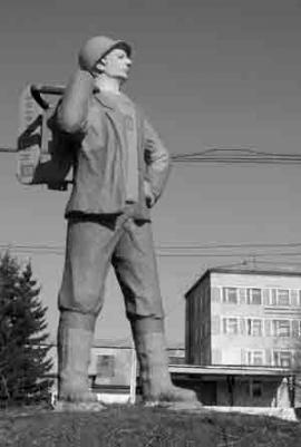 Профессиональный символ района, еще с советских лет охраняющий вход на ЛЗК, в связи с новыми веяниями времени превратили в рекламный баннер шведской фирмы Husqvarna, на оборудовании которой работают местные лесорубы.